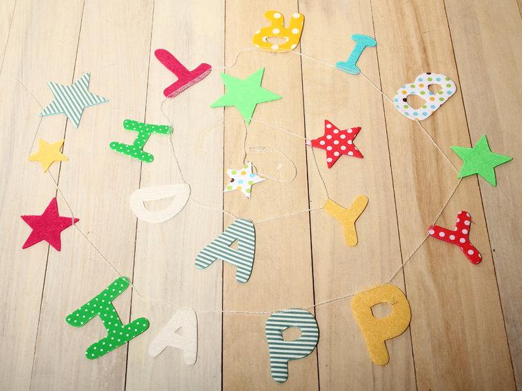 日本 Everyday 鄉村風 造型布旗 生日快樂 星星