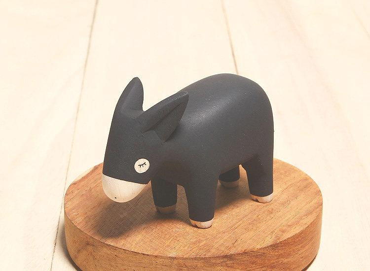 日本 T-Lab 木作 手工 純色 小動物 驢子