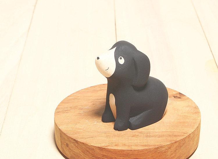 日本 T-Lab 木作 手工 純色 小動物 黑狗