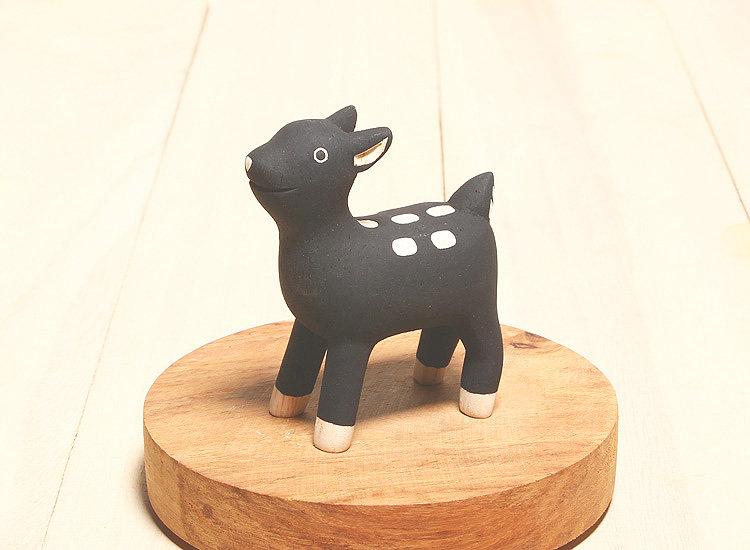 日本 T-Lab 木作 手工 純色 小動物 黑 小鹿