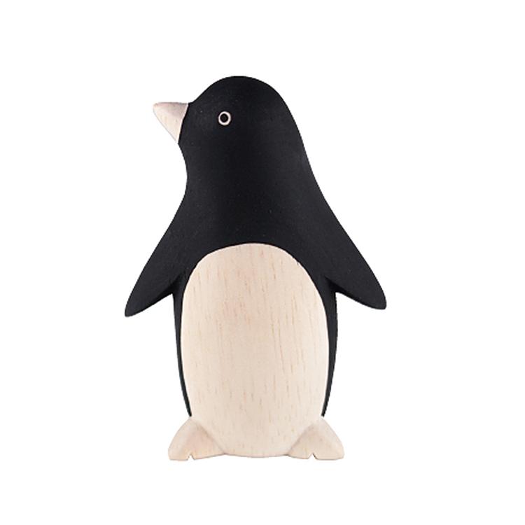 日本 T-Lab 木作 手工 純色 小動物  黑 企鵝