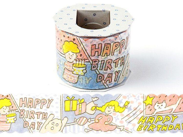 日本 Iroha Publish 寬紙膠帶 生日祝福