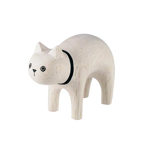 日本 T-Lab 木作 手工小動物  小白貓