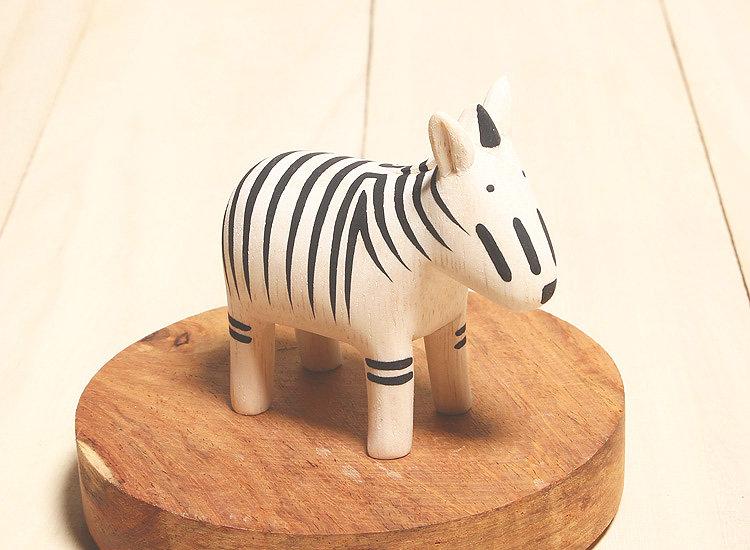 日本 T-Lab 木作 手工 純色 小動物 黑白 斑馬