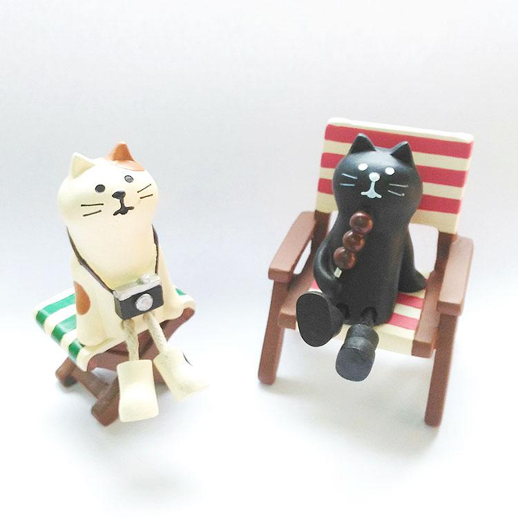 日本 Decole 雜貨 森林 小擺飾 照相 吃年糕 白貓 黑貓 旅行貓  Pattern Safari 狩獵隊 公仔