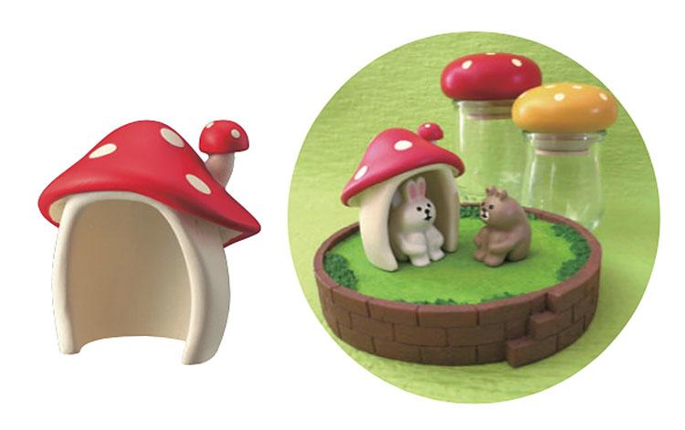 日本 Decole 雜貨 小擺飾 蘑菇 小屋 Pattern Safari 狩獵隊 公仔