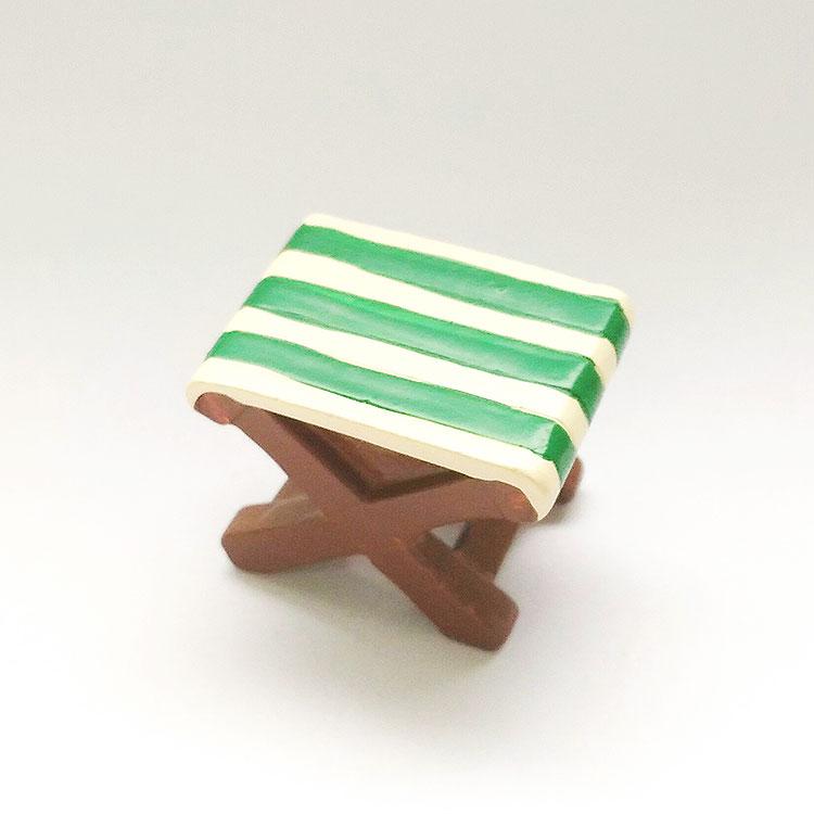 日本 Decole 雜貨 小擺飾 綠白露營椅 Pattern Safari 狩獵隊 公仔