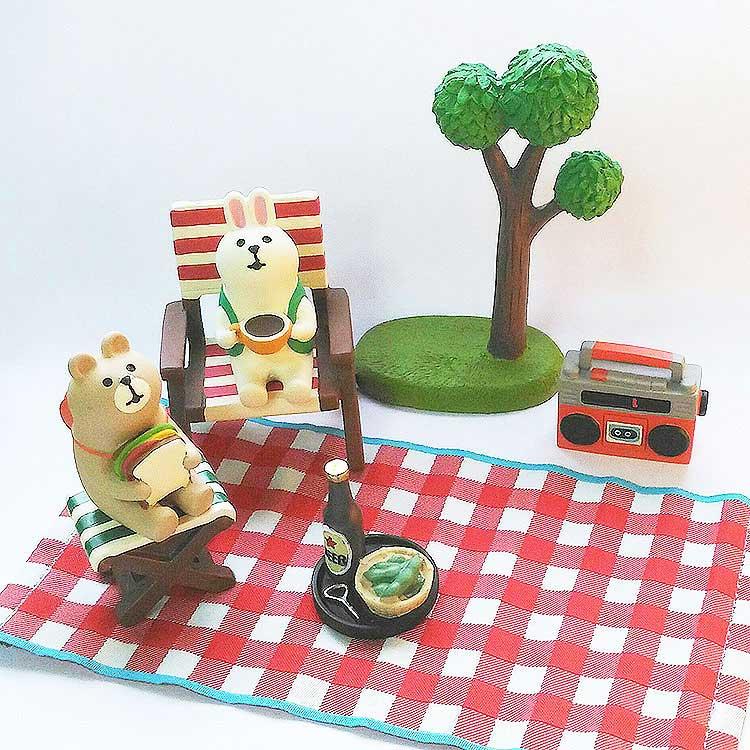 日本 Decole 雜貨 小擺飾 露營小地毯 Pattern Safari 狩獵隊 公仔