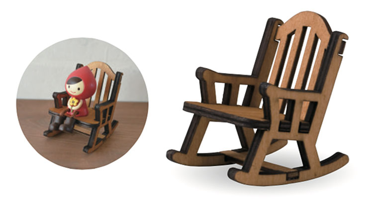 日本 Decole 雜貨 小擺飾 木製 搖椅 Pattern Safari 狩獵隊 公仔